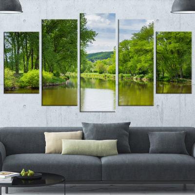 Design Art Beautiful Summer With Green Grass LargeLandscapeCanvas Art - 5 Panels