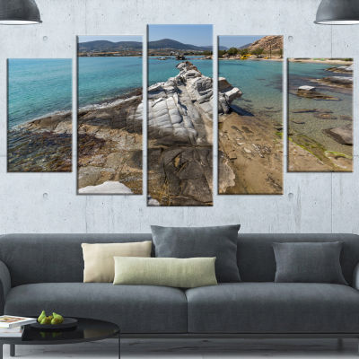 Designart Clean Waters And Rock Formations LargeLandscape Wrapped Canvas Art - 5 Panels