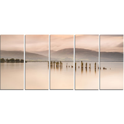 Designart Loch Lomond Jetty And Mountains Large Landscape Canvas Art - 5 Panels
