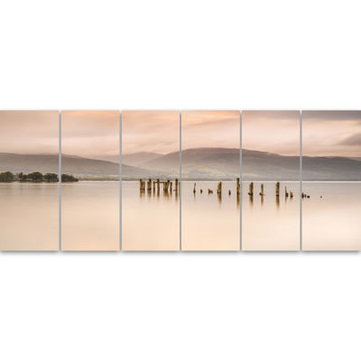Designart Loch Lomond Jetty And Mountains Large Landscape Canvas Art - 6 Panels