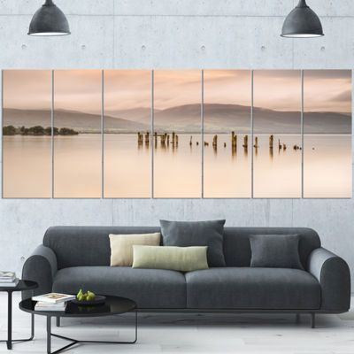 Designart Loch Lomond Jetty And Mountains Large Landscape Canvas Art - 7 Panels