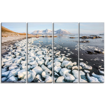 Designart Sunny Morning In Arctic Spitsbergen Large Landscape Canvas Art - 4 Panels