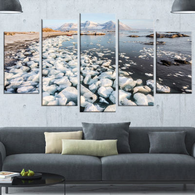 Designart Sunny Morning In Arctic Spitsbergen Large Landscape Wrapped Canvas Art - 5 Panels