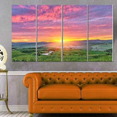Design Art Tuscany Sunrise With Pink Sky Large Landscape Canvas Art - 4 Panels
