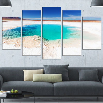 Designart Beautiful Salinas Lake In Argentina Large Landscape Canvas Art - 4 Panels