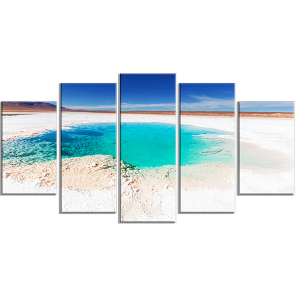 Design Art Beautiful Salinas Lake In Argentina Large Landscape Wrapped Canvas Art - 5 Panels
