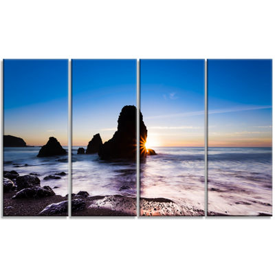 Designart Sunset At Rodeo Beach Panorama SeashoreCanvas Art Print - 4 Panels