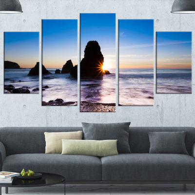 Designart Sunset At Rodeo Beach Panorama Large Seashore Canvas Art Print - 5 Panels