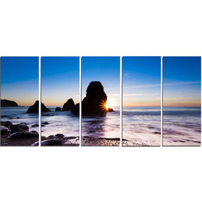Designart Sunset At Rodeo Beach Panorama SeashoreCanvas Art Print - 5 Panels