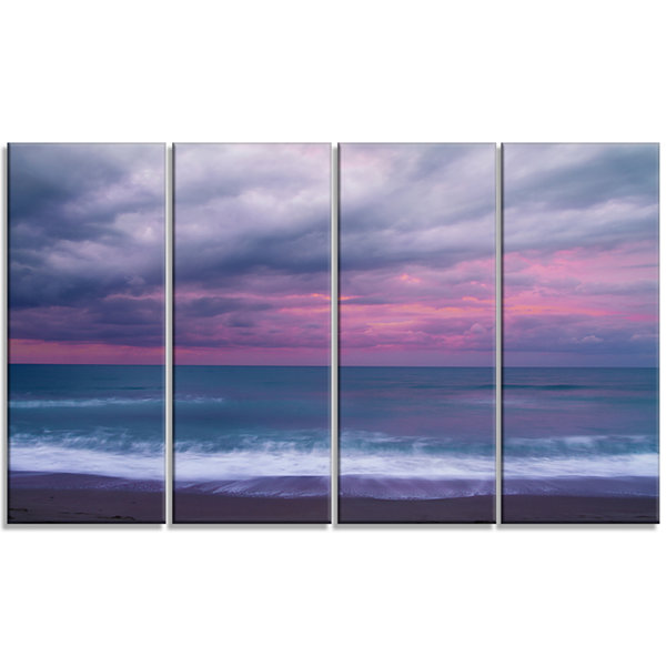 Design Art Blue And Pink Unset Over Sea Seashore Canvas Art Print - 4 Panels
