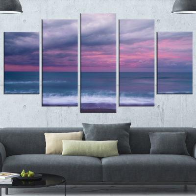Designart Blue And Pink Unset Over Sea Seashore Canvas Art Print - 5 Panels