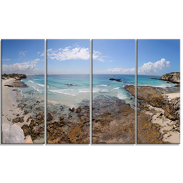 Designart The Rocks And Beach Panorama Seashore Canvas Art Print - 4 Panels