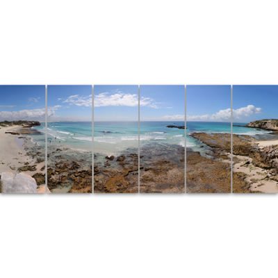 Designart The Rocks And Beach Panorama Seashore Canvas Art Print - 6 Panels