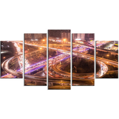 Beautiful Shanghai Traffic Gold Extra Large CanvasArt Print - 5 Panels