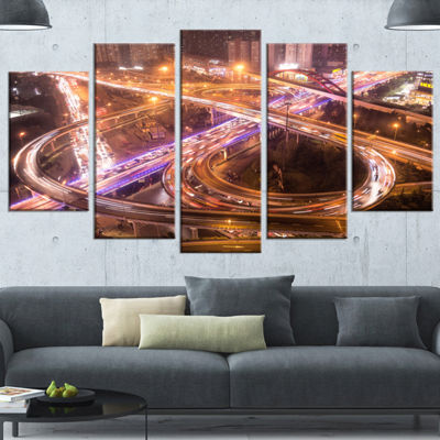 Designart Beautiful Shanghai Traffic Gold Extra Large Canvas Art Print - 5 Panels