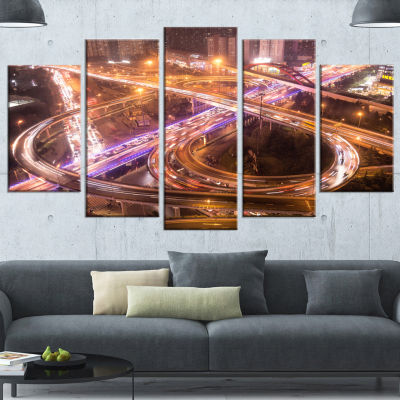 Designart Beautiful Shanghai Traffic Extra LargeCanvas Art Print - 5 Panels