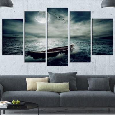 Designart Boat Drifting Away After Storm Large Seashore Canvas Art Print - 5 Panels
