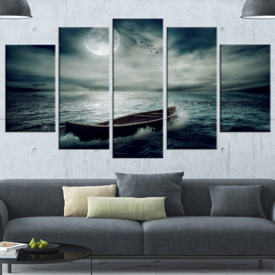 Designart Boat Drifting Away After Storm Large Seashore Canvas Art Print - 5 Panels