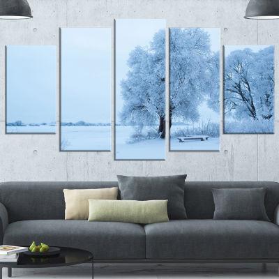 Designart Foggy Yuriev Monastery Large LandscapeCanvas Art- 5 Panels