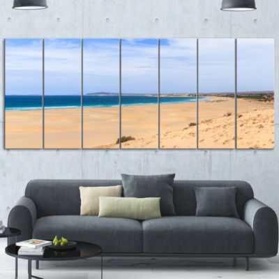 Designart Sea And Clouds In Blue Sky Large Seashore Canvas Art Print - 5 Panels