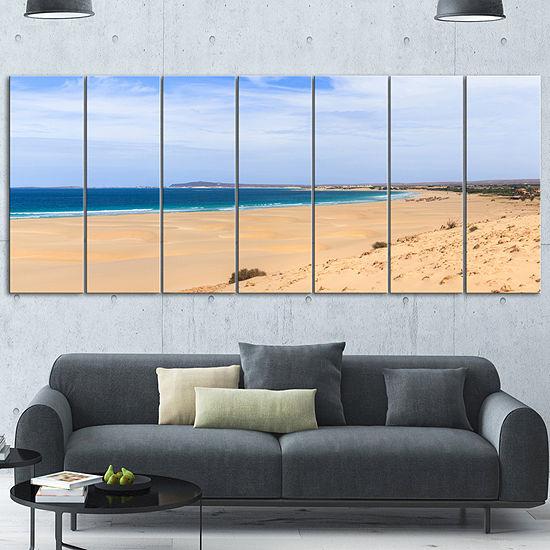 Designart Sea And Clouds In Blue Sky Seashore Canvas Art Print - 5 Panels