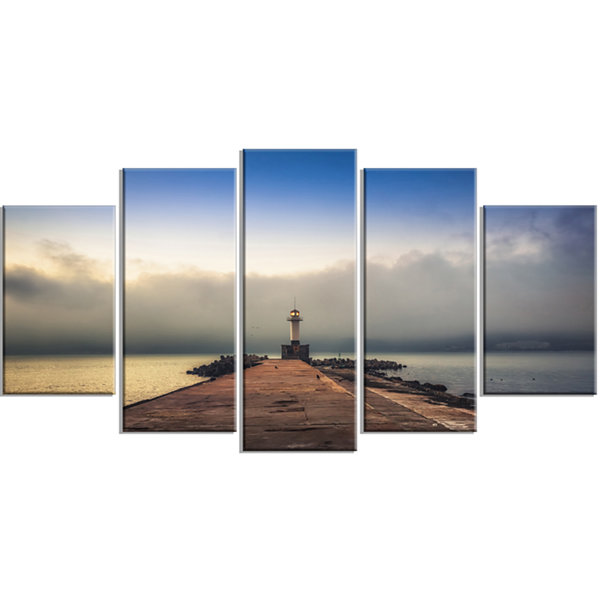 Design Art Lighthouse On Coast And Cloudy Sky Large Modern Canvas Art Print - 5 Panels
