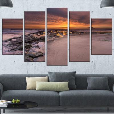 Designart Dramatic Sunrise Over Sandy Beach Seashore Canvas Art Print - 4 Panels