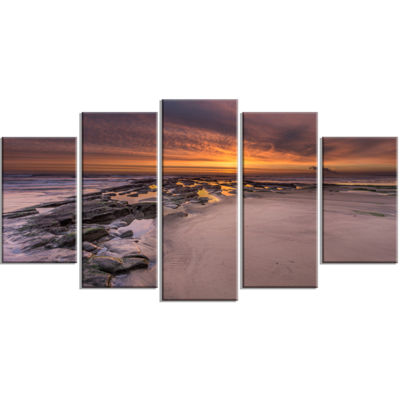 Designart Dramatic Sunrise Over Sandy Beach LargeSeashore Canvas Art Print - 5 Panels