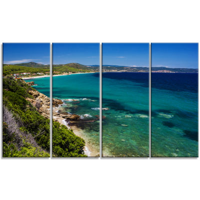Beautiful Greek Beach Of Sea Seashore Canvas Art Print - 4 Panels
