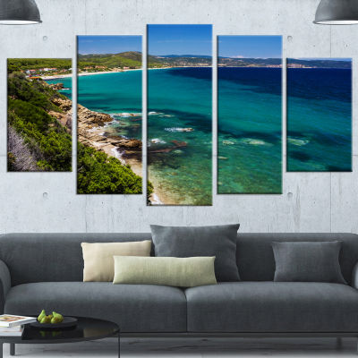 Designart Beautiful Greek Beach Of Sea Blue Seashore Canvas Art Print - 5 Panels