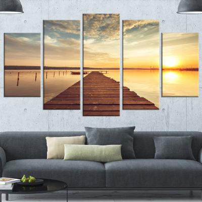 Designart Sea Pier Under Beautiful Cloudscape Modern Canvas Art Print - 5 Panels