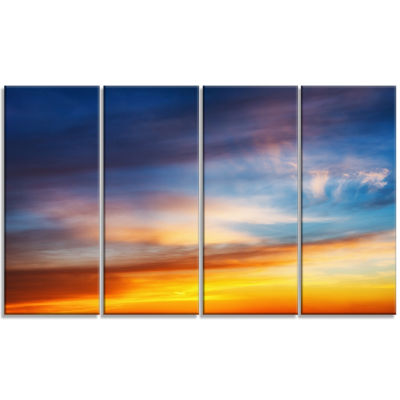 Sunset Dramatic Yellow Sky Clouds Seashore CanvasArt Print - 4 Panels