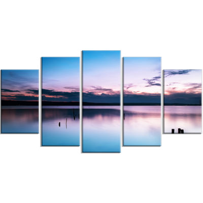 Designart Sunset Over Lake Blue Everywhere LargeSeashore Canvas Art Print - 5 Panels
