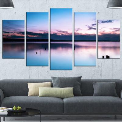 Designart Sunset Over Lake Blue Everywhere Seashore Canvas Art Print - 5 Panels