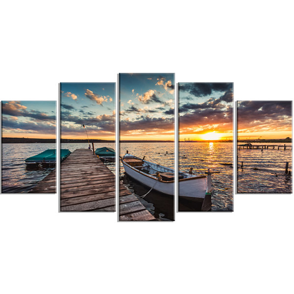 Design Art Boats And Jetty Under Dramatic Sky Large Modern Canvas Art Print - 5 Panels