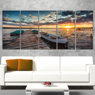 Boats And Jetty Under Dramatic Sky Modern Canvas Art Print - 5 Panels