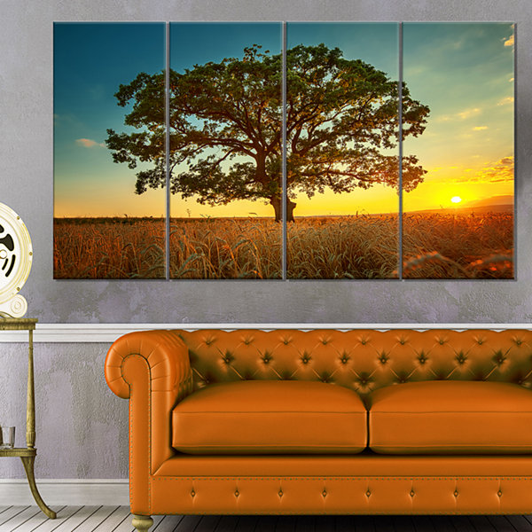 Designart Big Green Tree In Summer Field Trees Canvas Art Print - 4 Panels