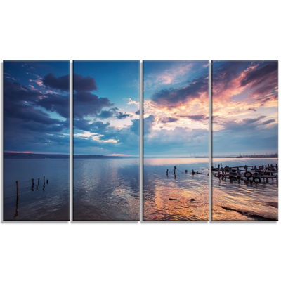 Designart Dramatic Sky Over Sunset Lake Large Landscape Canvas Art - 4 Panels