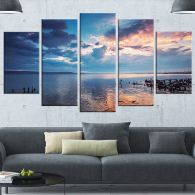 Designart Dramatic Sky Over Sunset Lake Large Landscape Wrapped Canvas Art - 5 Panels