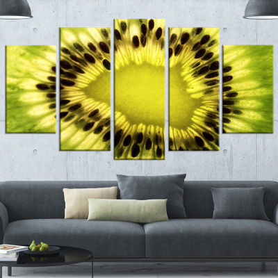 Designart Green Kiwi Seeds And Inside Pattern Contemporary Wrapped Canvas Art Print - 5 Panels