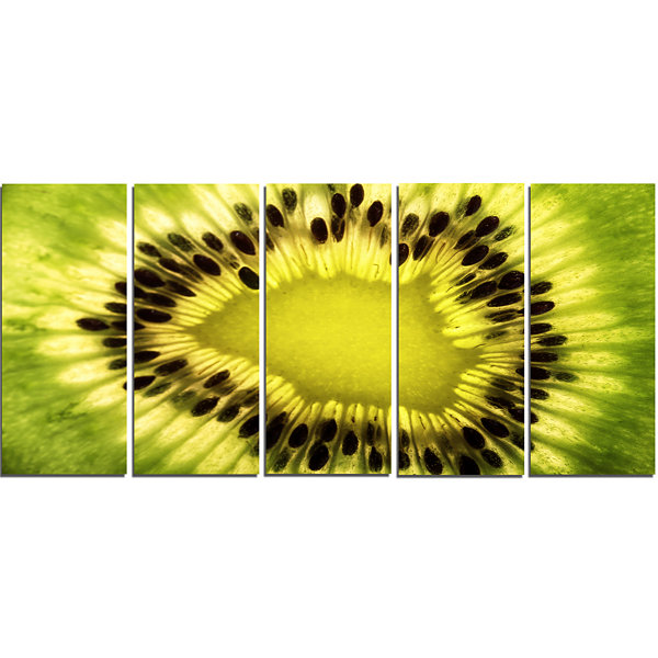 Design Art Green Kiwi Seeds And Inside Pattern Contemporary Canvas Art Print - 5 Panels