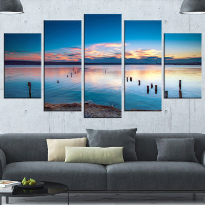 Designart Bright Blue Sky And Blue Waters SeashoreWrapped Canvas Art Print - 5 Panels