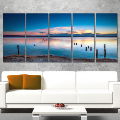 Bright Blue Sky And Blue Waters Seashore Canvas Art Print - 5 Panels