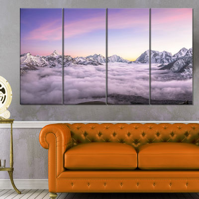 Clouds Sunrise Ama Dablam Large Landscape Canvas Art - 4 Panels