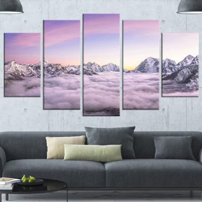 Designart Clouds Sunrise Ama Dablam Large Landscape Wrapped Canvas Art - 5 Panels