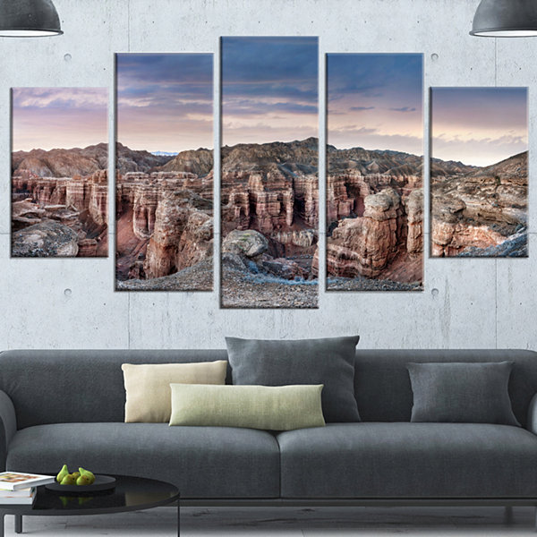 Design Art Charyn Canyon In Kazakhstan Large Landscape Wrapped Canvas Art - 5 Panels