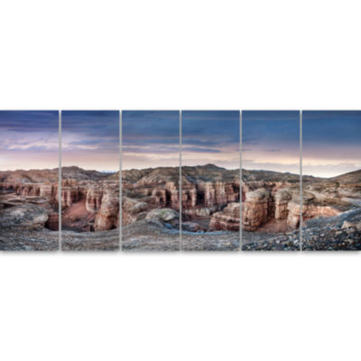 Charyn Canyon In Kazakhstan Large Landscape CanvasArt - 6 Panels