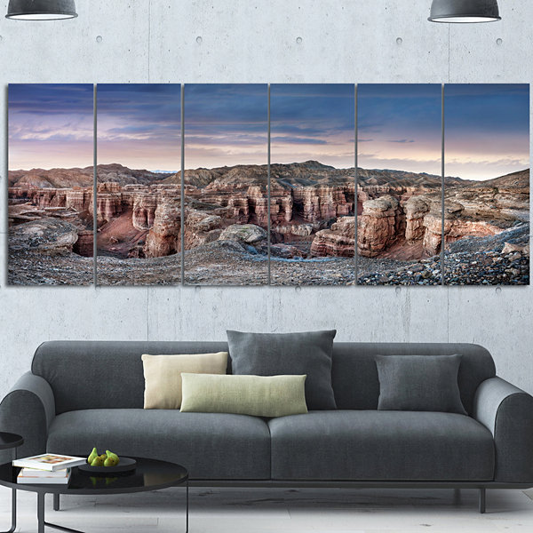 Designart Charyn Canyon In Kazakhstan Large Landscape Canvas Art - 6 Panels