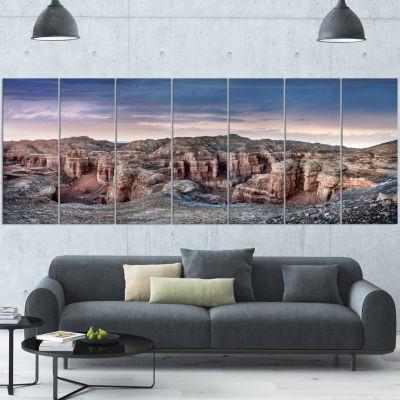 Charyn Canyon In Kazakhstan Large Landscape CanvasArt - 7 Panels