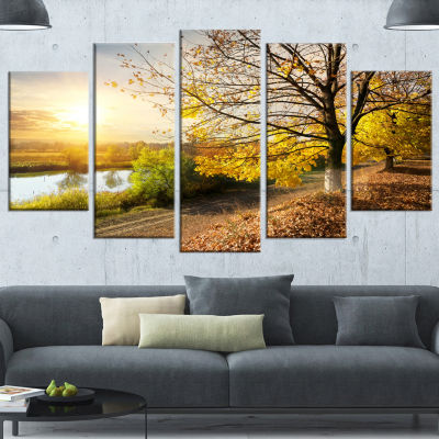 Design Art Beautiful Road By The River Large Landscape Wrapped Canvas Art - 5 Panels